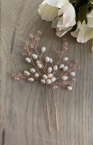 Bessie ivory freshwater pearl hair pin
